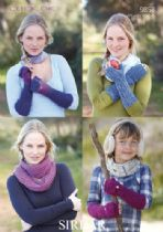 Sirdar Click DK - 9858 Gloves & Snood Knitting Pattern